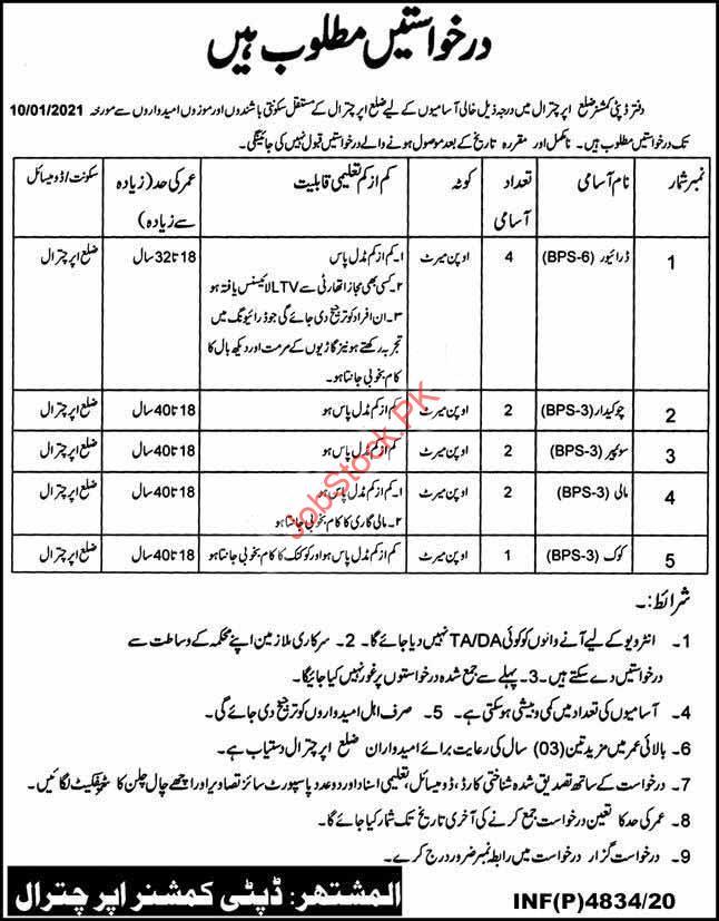 Deputy Commissioner Dc Revenue Department Upper Chitral Jobs 2021