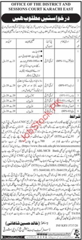 District & Session Court Karachi East Jobs 2021