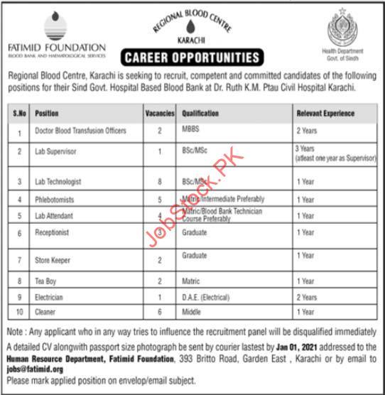 Fatimid Foundation Ngo's Region Blood Cener Karachi Jobs 2021 Latest