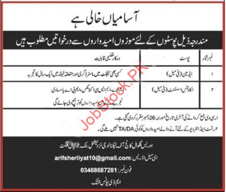Idrees Global College Of Technology Gilgit Jobs 2021