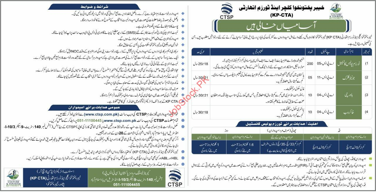 Kpk Culture & Tourism Authority Kpcta Police Jobs 2021