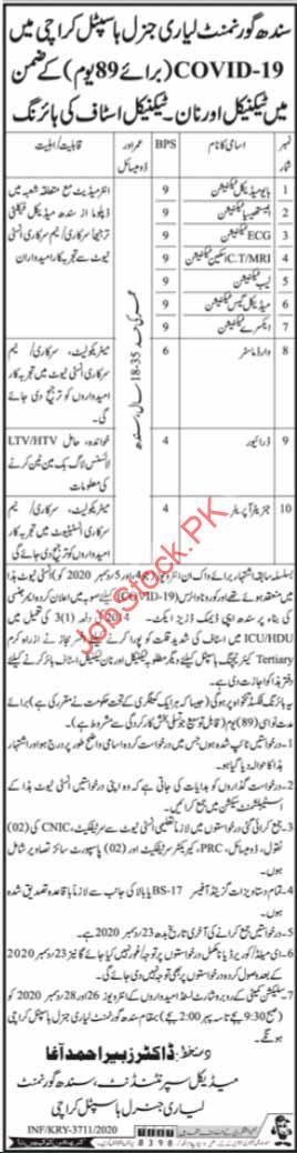 Lyari General Hospital Karachi Jobs 2021