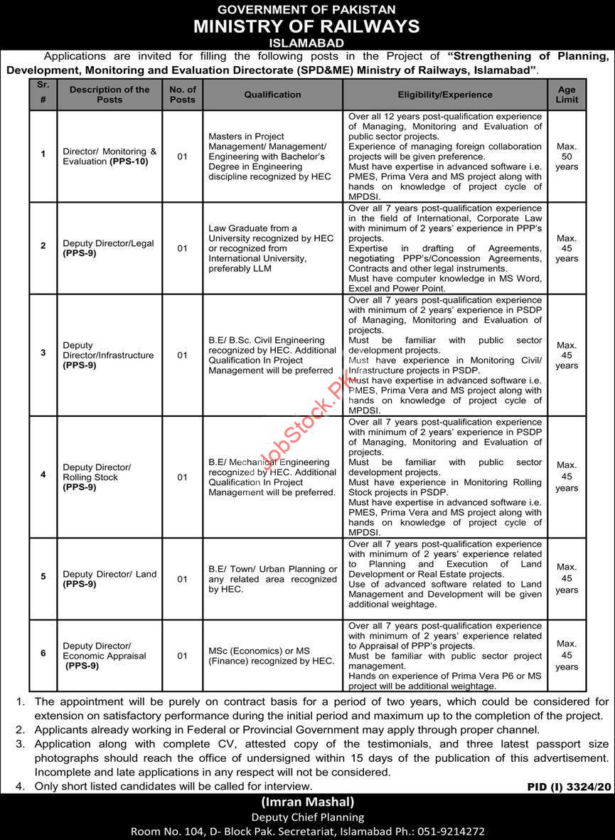 Ministry Of Railways Islamabad Jobs 2021