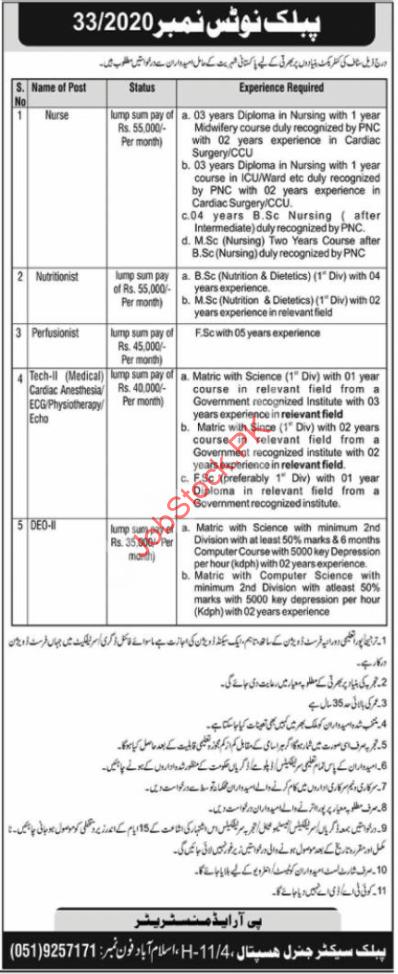 Paec General Hospital Islamabad Jobs 2021