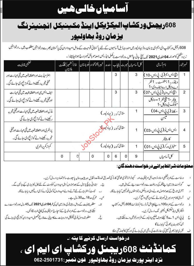 Pak Army 608 Regional Workshop Eme Bahawalpur Jobs 2021