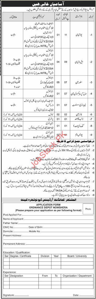 Pakistan Army Ordnance Depot Nowshera Kpk Jobs 2021 Latest