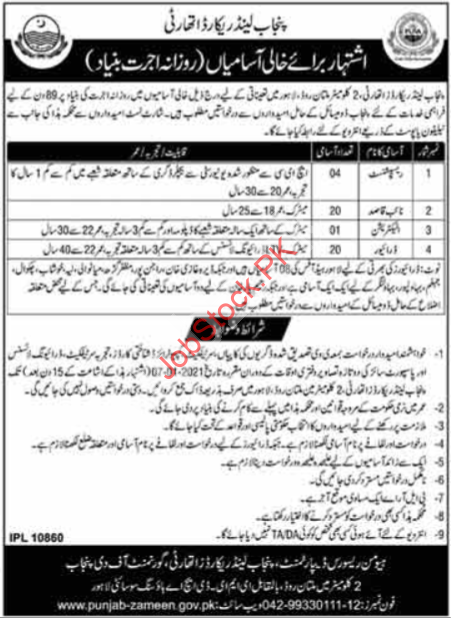 Punjab Land Records Authority Plra Jobs 2021 Latest