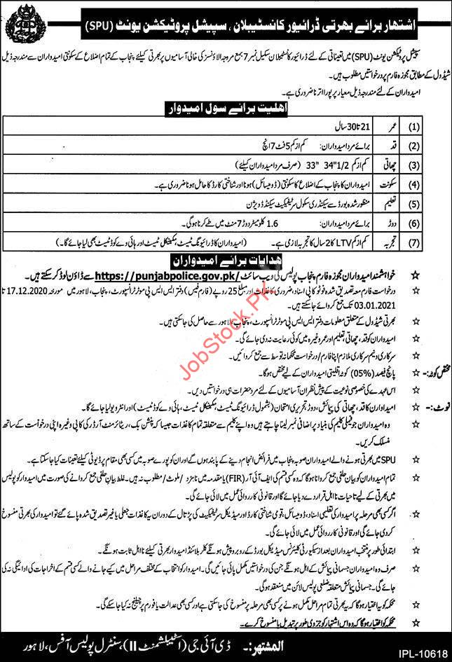 Punjab Police Special Protection Unit Spu Jobs 2021 Latest