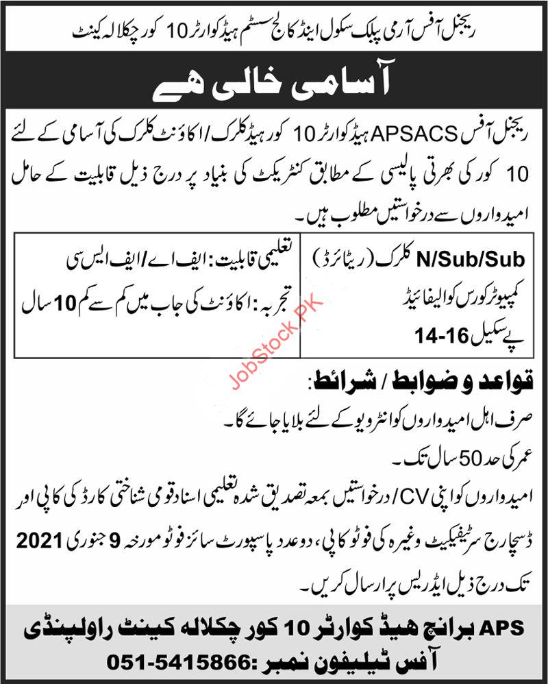 Regional Office Army Public School & College Chaklala Cantt Jobs 2021