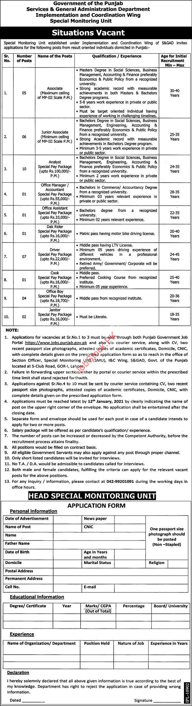Services & General Administration Department Smu Jobs 2021