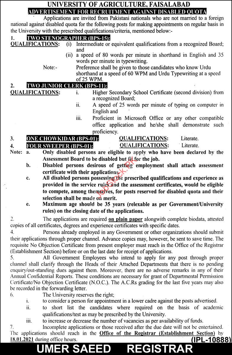 University Of Agriculture Uaf Faisalabad Jobs 2021