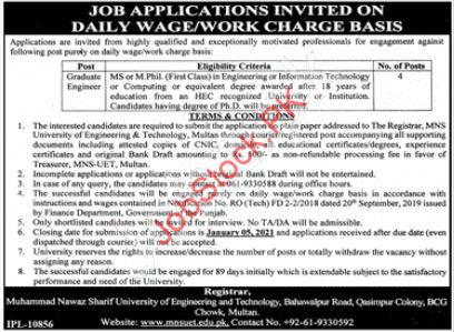 University Of Engineering & Technology Mns Uet Multan Jobs 2021