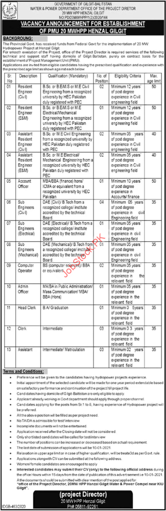 Water And Power Department Gilgit Jobs 2021 Latest