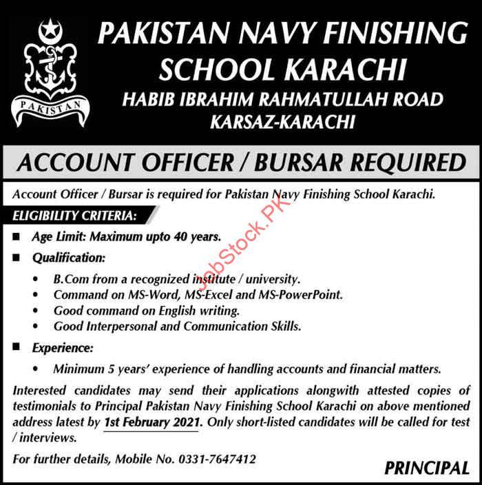 Account Officer Jobs In Pakistan Navy Finishing School Karachi