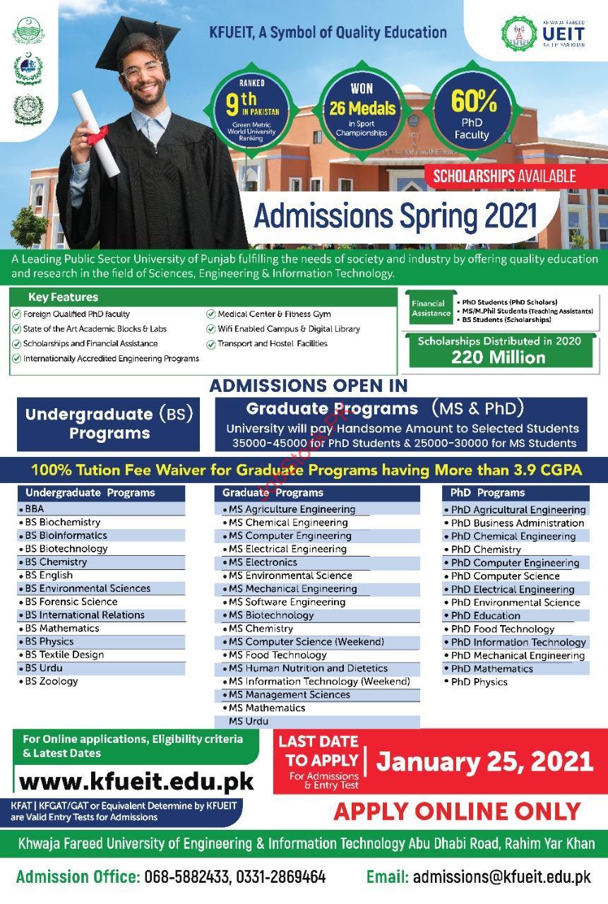 Admission In Kfueit Khawaja Fareed University Of Engineering & Information Technology Rahim Yar Khan 2021 Jnauary Spring Latest
