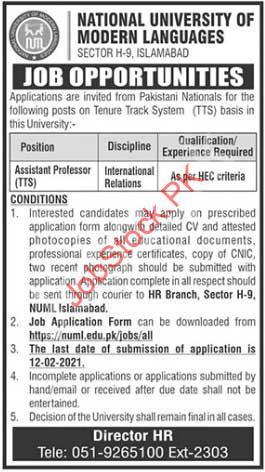 Assistant Professor Jobs In Numl University Islamabad 2021