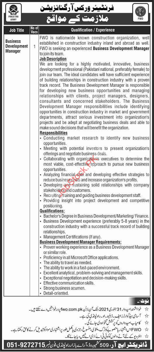 Business Development Manager Job In Fwo Frontier Works Organization