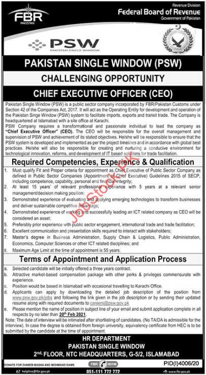 Ceo Jobs In Pakistan Single Window Psw Feb 2021