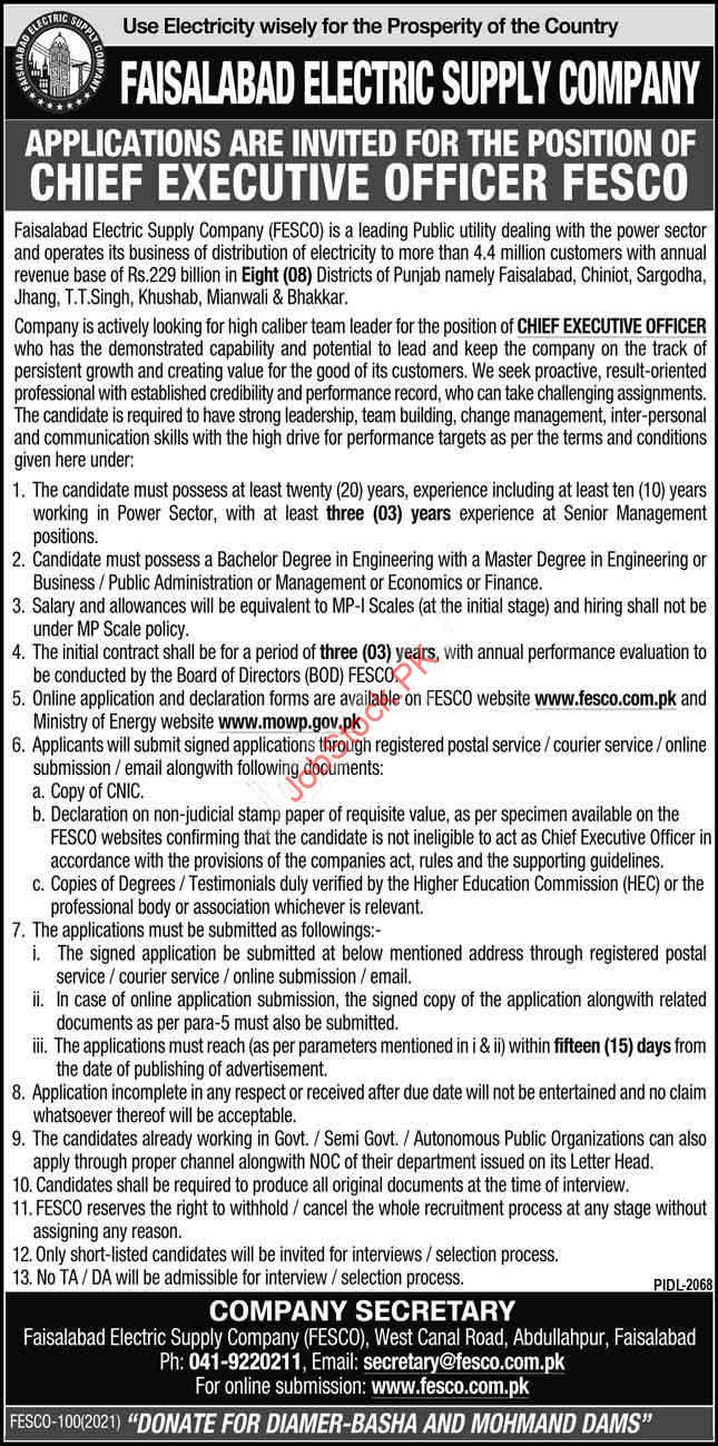 Career Opportunity As Ceo Fesco Faisalabad Electric Supply Company