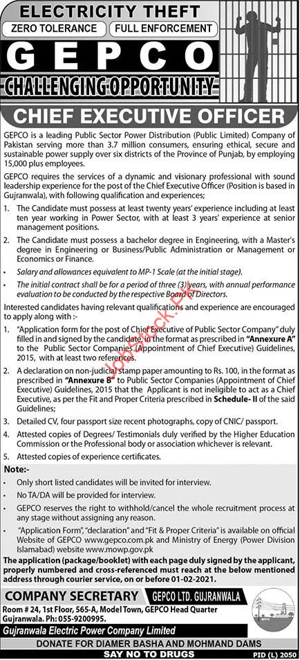 Career Opportunity As Ceo Gepco Gujranwala Electric Power Company