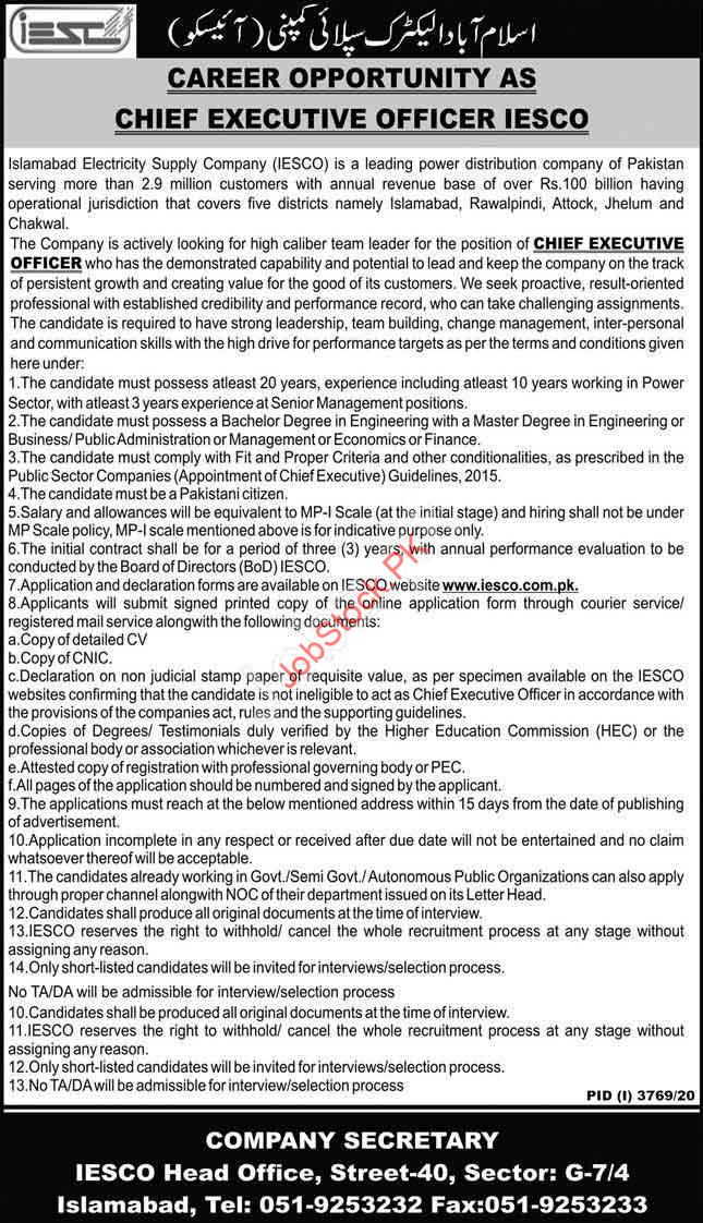 Career Opportunity As Ceo Iesco Islamabad Electric Supply Company