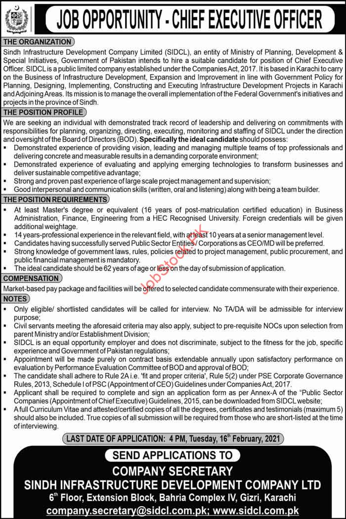 Career Opportunity As Ceo Sidcl Sindh Infrastructure Development Co. Ltd.