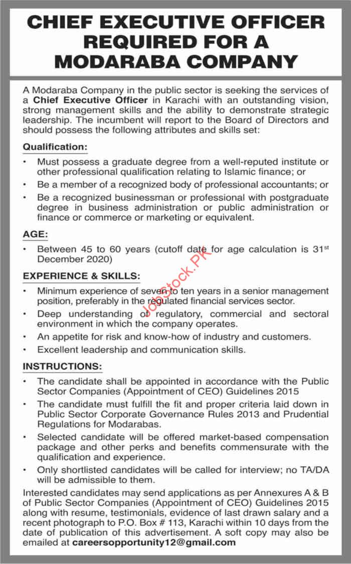 Chief Executive Officer Is Required For Modaraba Company English Ad