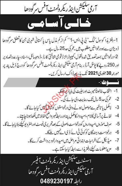 Cook Job In Army Selection And Recruitment Office Sargodha