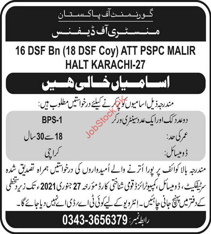 Cook And Sanitary Worker Jobs In Ministry Of Defence Karachi