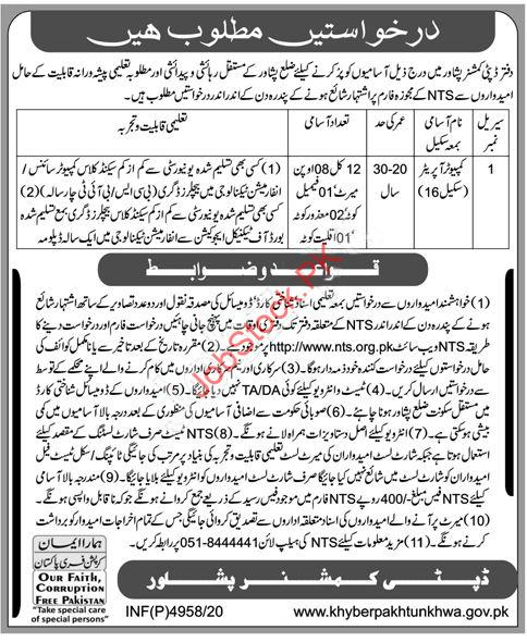 Deputy Commissioner District Office Peshawar Jobs 2021
