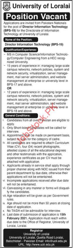 Director Job In University Of Loralai Balochistan January 2021