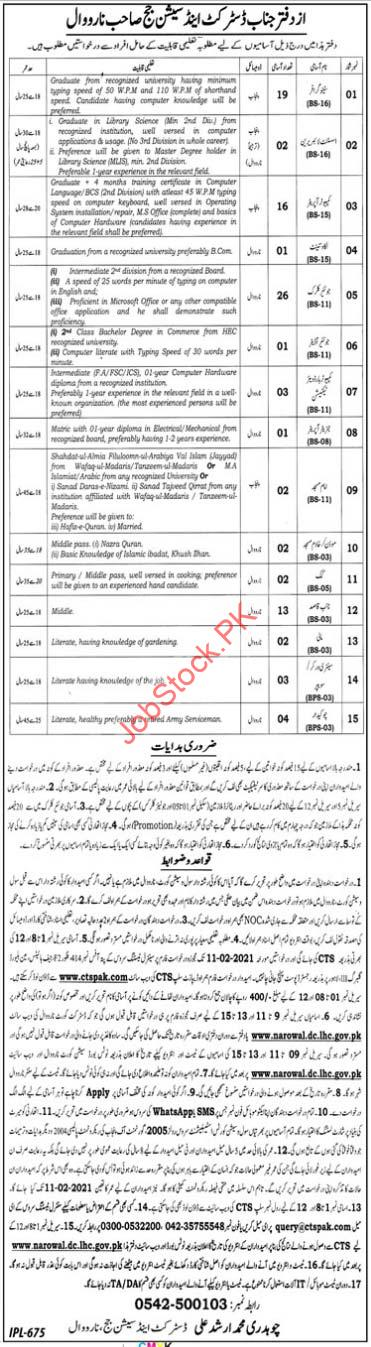 District & Session Court Narowal 2021 Jobs