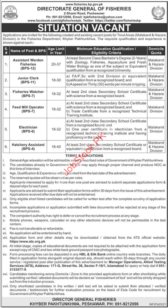 Fisheries Department Kpk Jobs 2021 Latest