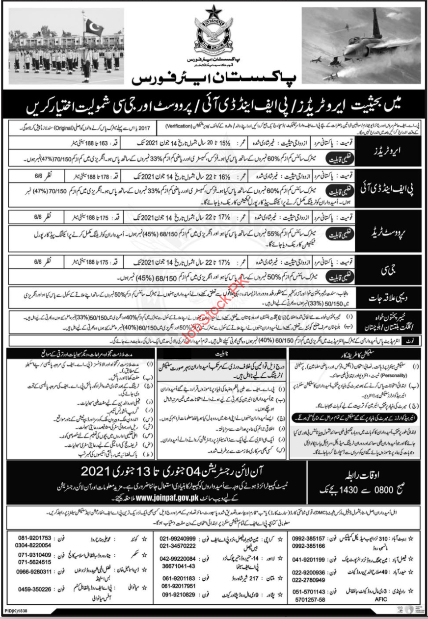 Join Paf Pakistan Air Force As Aero Trades & Provost Jobs 2021 Jnauary Latest