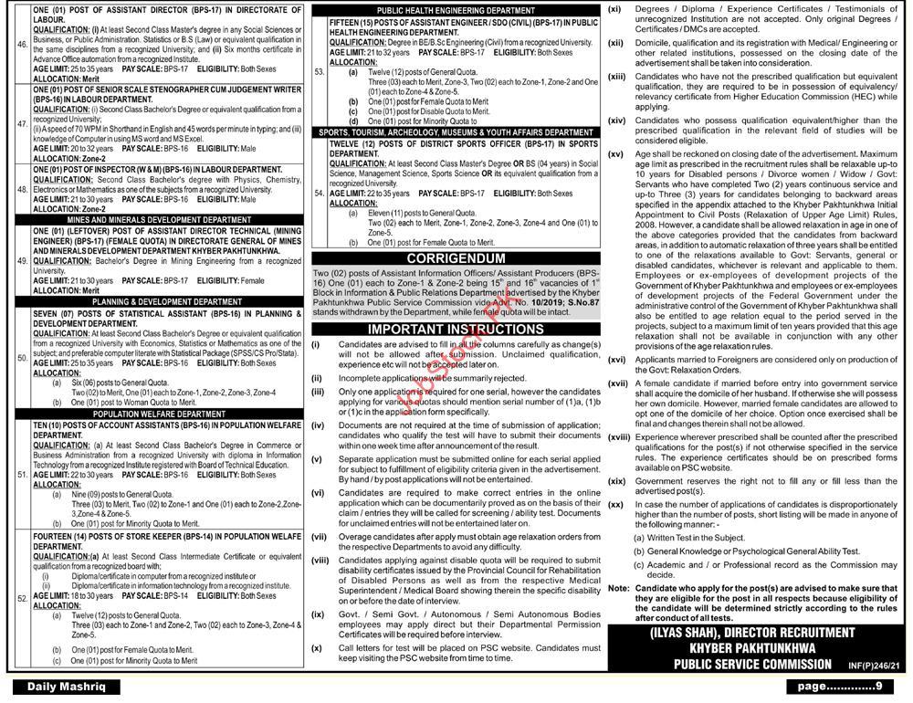 Kppsc Jobs Advertisement In January 2021 Kppsc.gov.pk Next Page