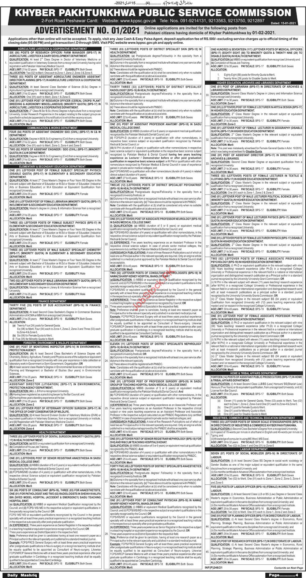 Kppsc Jobs Advertisement In January 2021 Kppsc.gov.pk