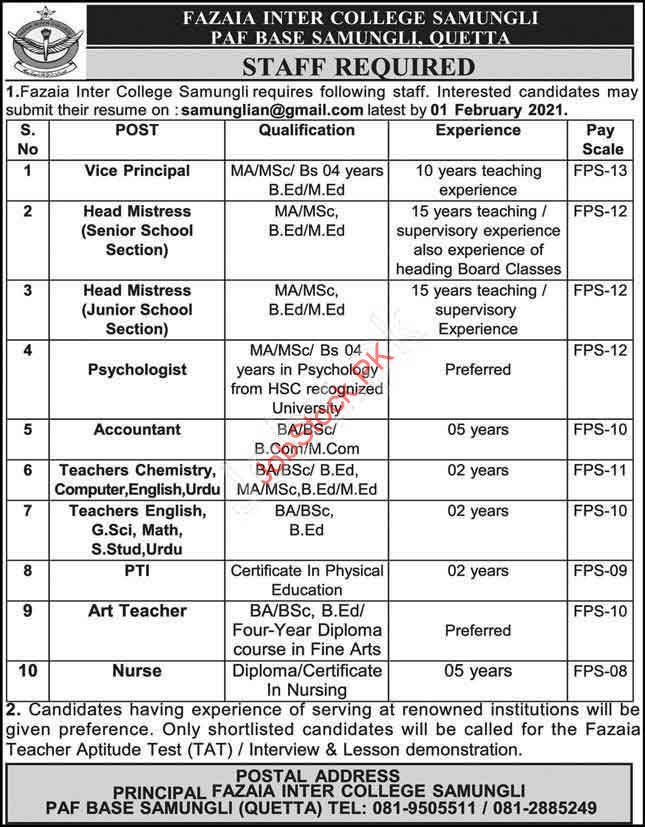 Latest Jobs In Fazaia Inter College Samungli Quetta