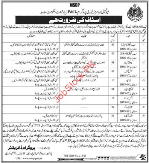 Latest Jobs In Municipal Services Delivery Program Msdp Karachi