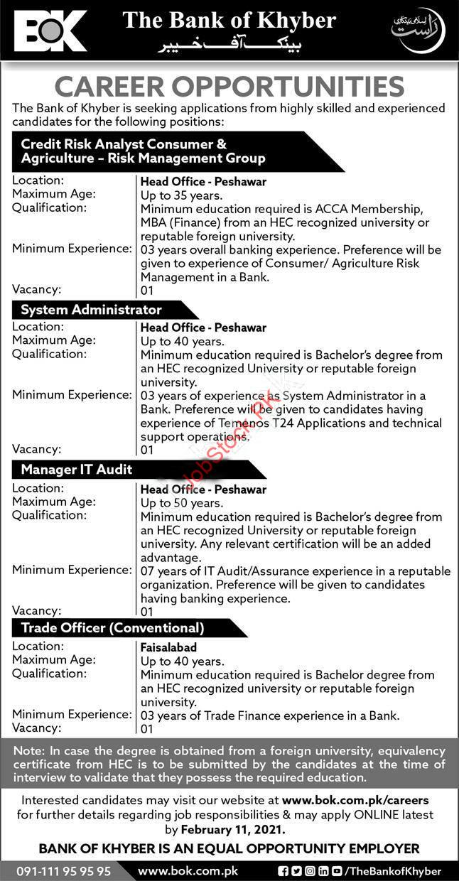 Latest Officers Jobs In Bank Of Khyber January 2021