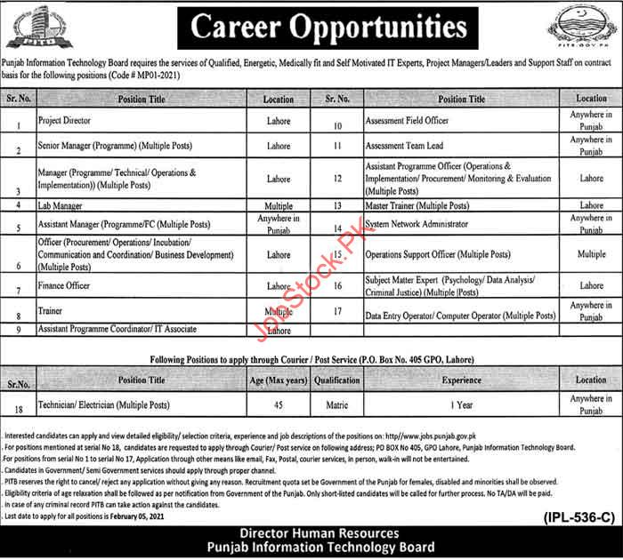 Latest Punjab Information Technology Board Lahore Jobs In Pitb