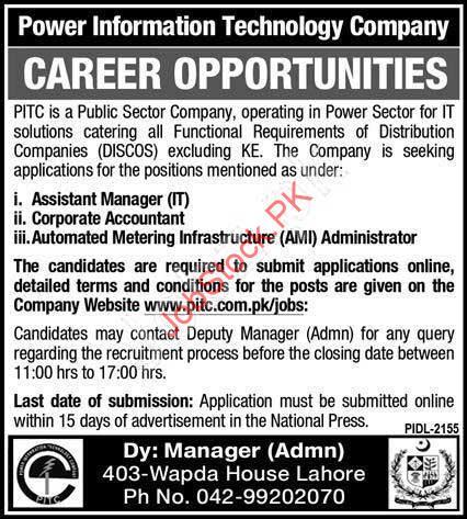 Latest Wapda House Jobs Lahore Pitc Jobs
