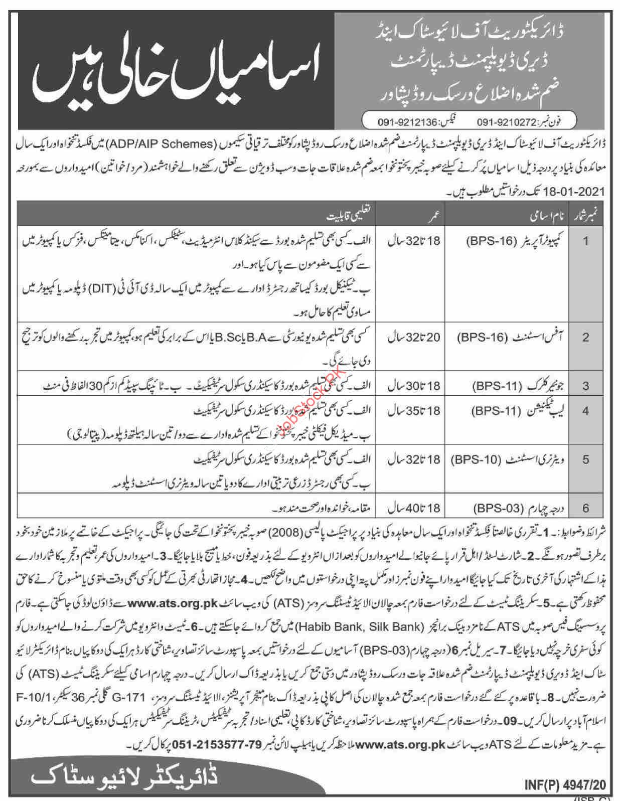 Livestock & Dairy Development Department Peshawar Jobs 2021 Latest