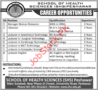 Manager, Librarian, Lecturer Jobs In School Of Health Sciences Peshawar