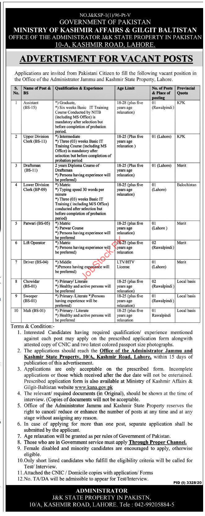 Ministry Of Kashmir Affairs & Gilgit Baltistan Lahore Jobs 2021