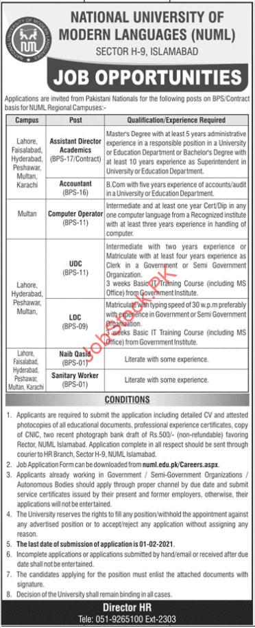 Numl National University Of Modern Languages Jobs In 2021