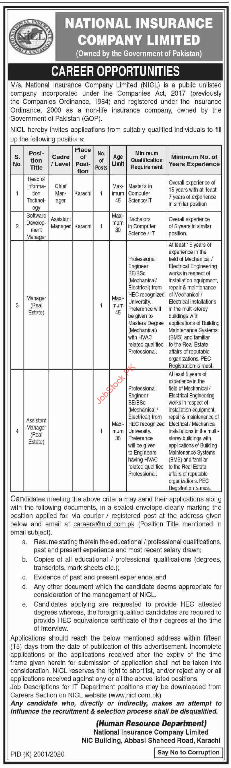 Officers Jobs In Nicl Pakistan Jobs January 2021