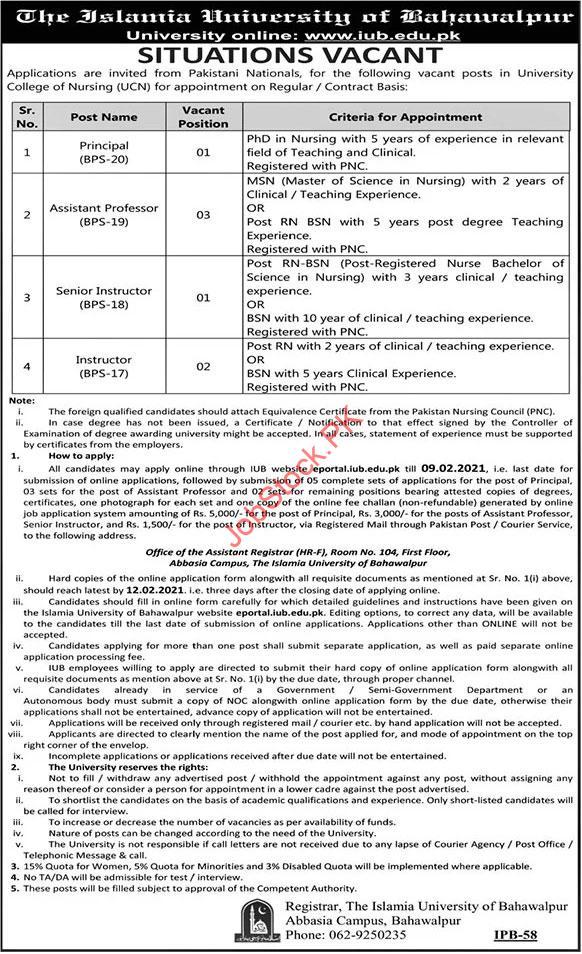 Principal And Teaching Jobs In The Islamia University Of Bahawalpur