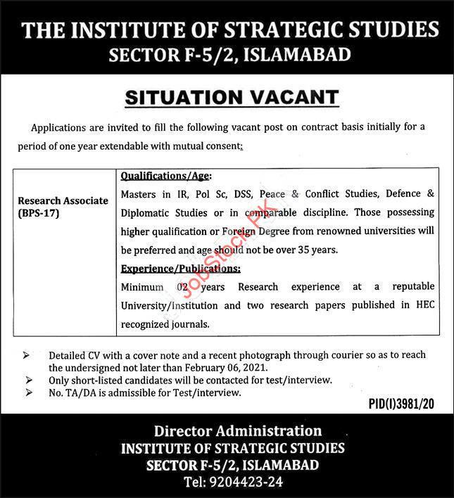 Research Associate Job In The Institute Of Strategic Studies Islamabad