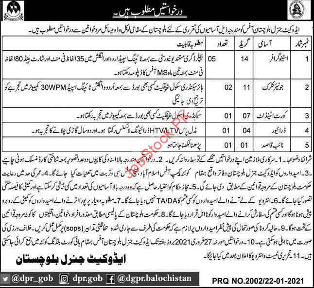 Steno, Clerk Jobs In Advocate General Balochistan 2021