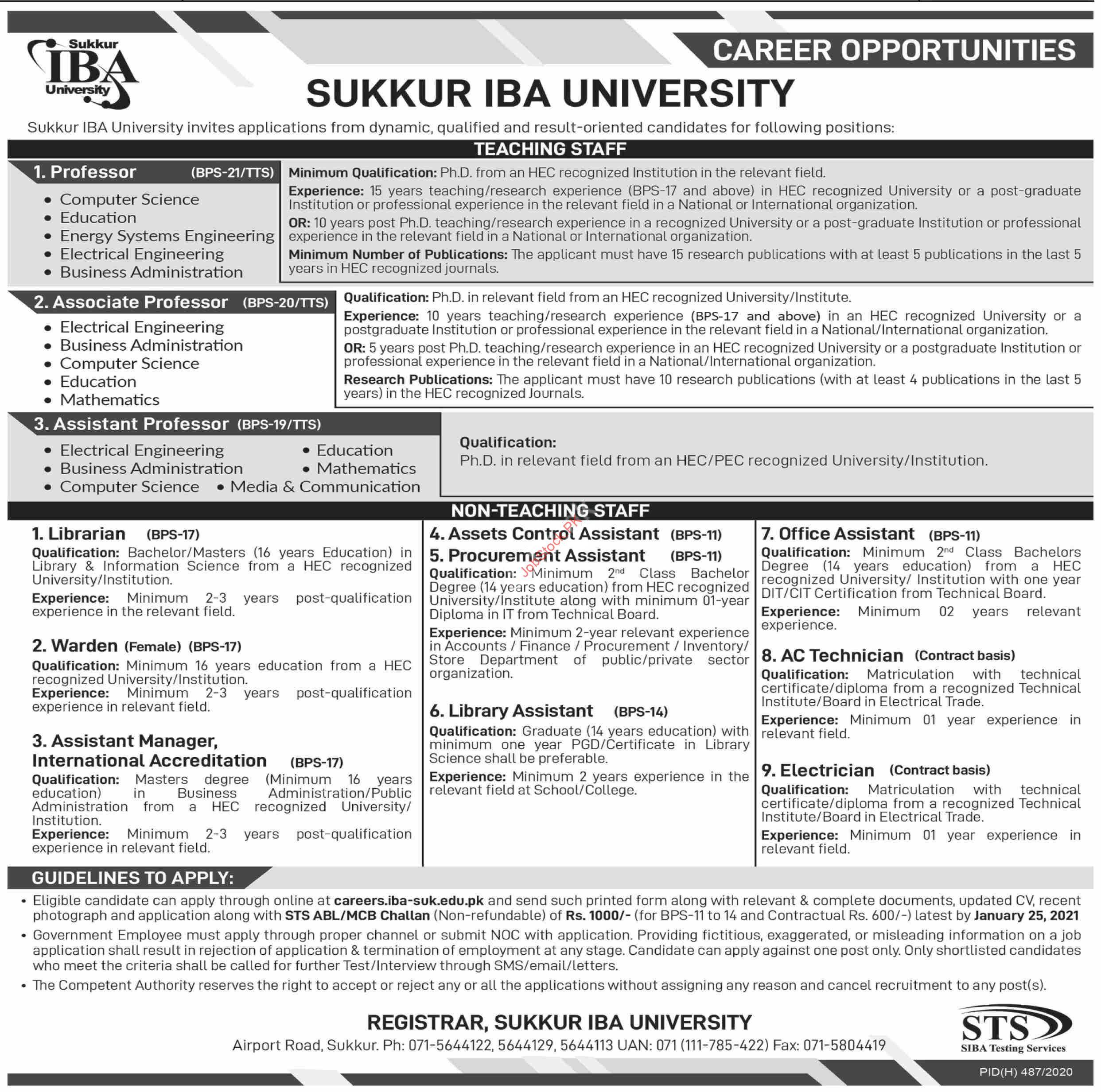 Sukkur Iba University Jobs 2021 Latest